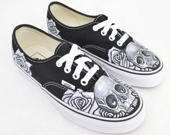 f4b26e9c4a6 Black And White Skull And Rose on Black Vans Authentic - Custom Hand Painted  Shoes