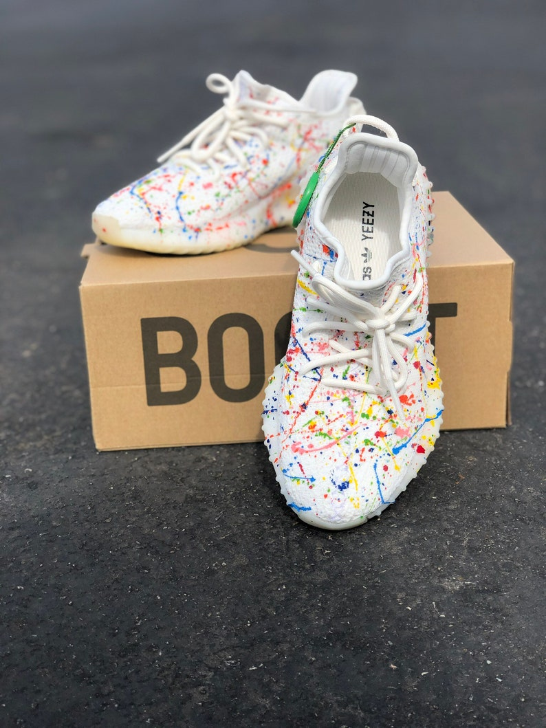bb9303b5782a0 Custom Paint Splattered Yeezy s