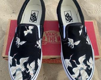 Custom Crane Slip On Vans - Gift for Bird Watcher, Japanese Gift, Japanese Crane, Bird Lover