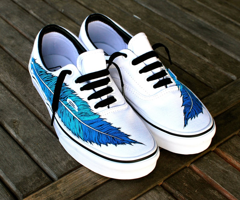 Hand Painted Eagle Feather on White Vans Era Shoe  d8ce3a49bf