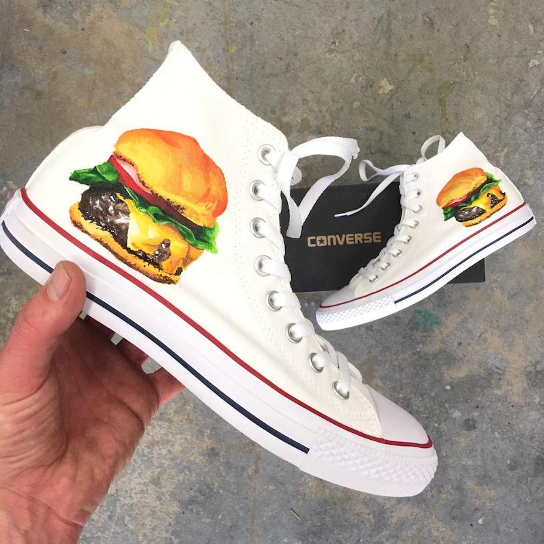 49757aafddd55e Hand Painted White Converse Chuck Taylor Hi Tops