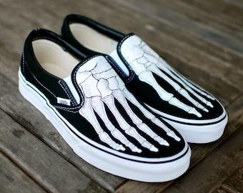 Skeleton Boney Feet Custom Vans Slip On Shoes
