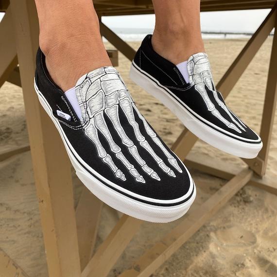 Skeleton Boney Feet Custom Vans Slip On