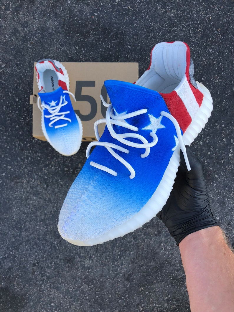 20950fd8d Custom Painted Red White and Blue Stars and Stripes Adidas