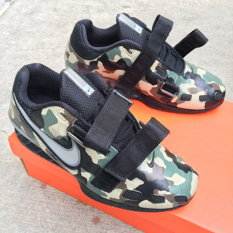 promo code 1dfac a28d1 Custom Hand Painted Nike Romaleos 2 Camo Weightlifting Shoes   Etsy