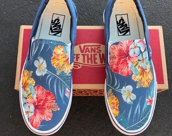 Tropical Floral Pattern on Navy Vans Slip On Shoes - Men's and Women's Custom Vans Sneakers