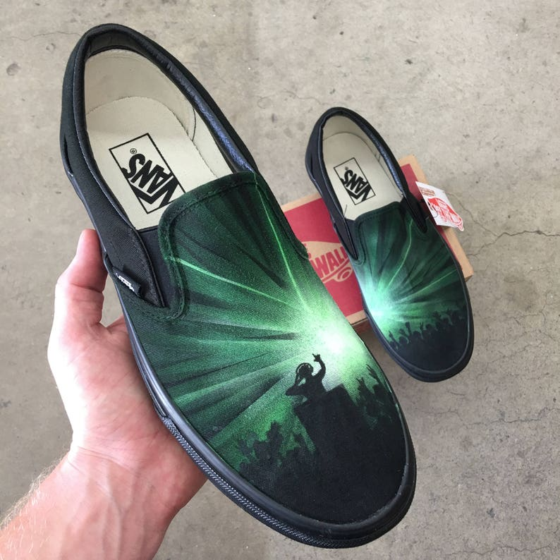 836373f73a19e3 Custom Hand Painted DJ Party Rave Vans Vans Slip-Ons