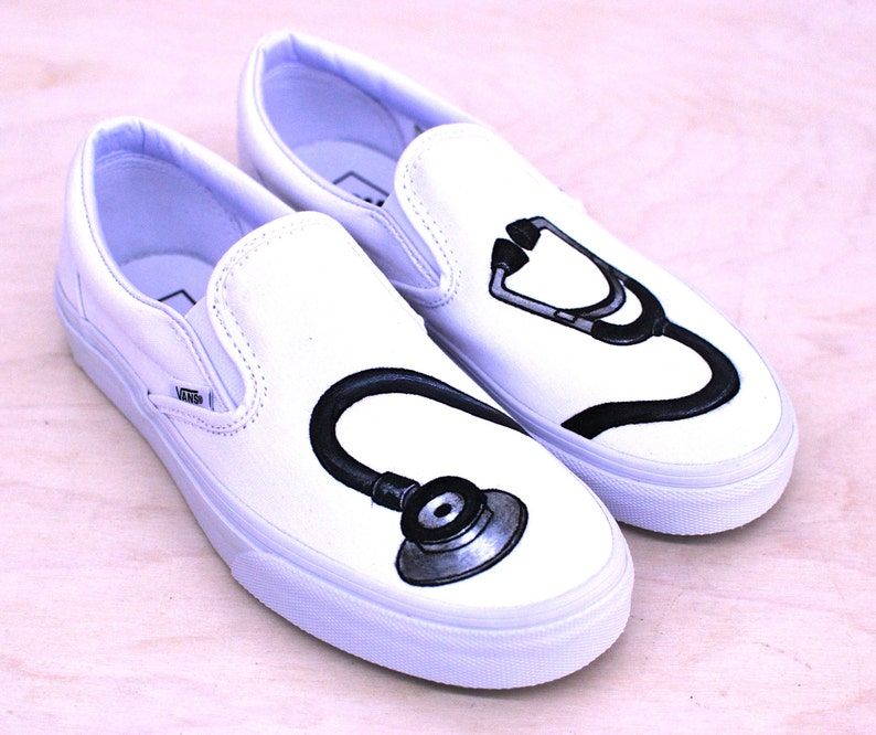 efd8718aeb00 Hand Painted Stethoscope Slip on Vans for Doctors