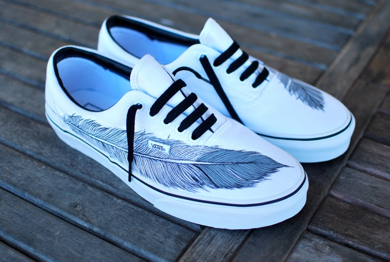 Hand Painted Native Eagle Feather on White Vans Era shoes  461850c5c6