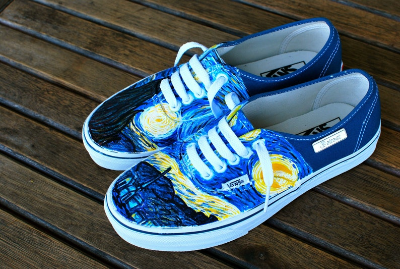 6da1e8ba2c Hand Painted Starry Night Navy Vans Authentic Custom Vincent