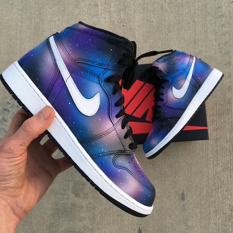 e304beca8b8 Custom Painted Galaxy Retro Nike Jordan 1 Sneakers | Etsy