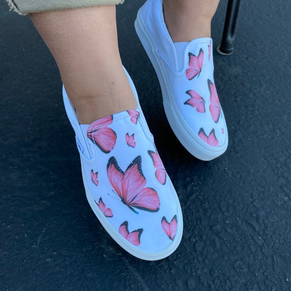 Pink Butterfly White Slip On Vans