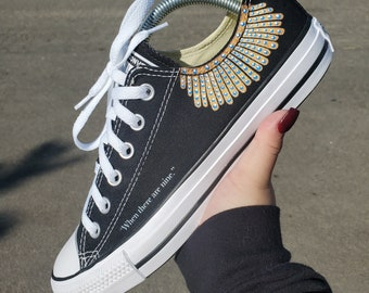 """Supreme Court Justice Ruth Bader Ginsburg Dissent Collar Custom Converse Shoe - """"When There Are Nine"""" Dissenting Opinion"""