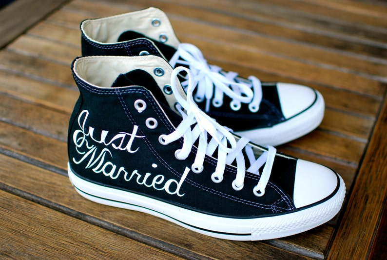 9b15468da782 Hand Painted Just Married Converse Black Canvas Chucks