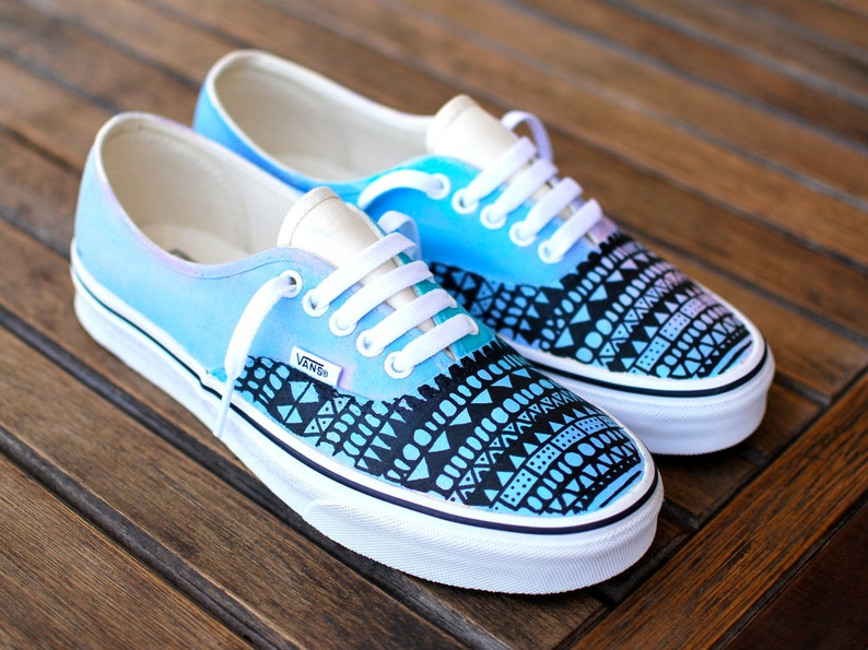 620e84dabd Custom Hand Painted Pastel Color Tribal Pattern Vans Authentic