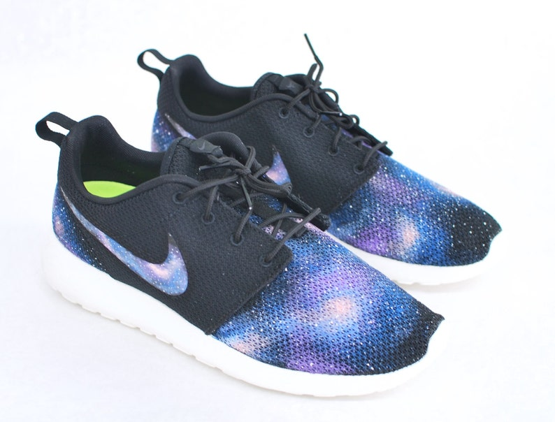 Custom Galaxy Nike Roshe Run Hand Painted Blue Galaxy on Black Roshes Galaxy Print on Nike Swoosh, Vamp & Heel.