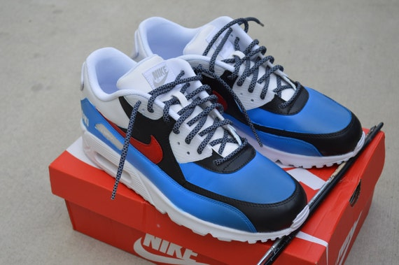 Personalizado pintado rojo blanco y azul Nike Air Max 90 Etsy