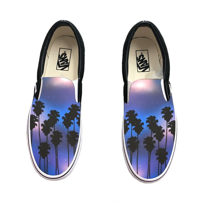 55a77d202c Hand Painted Tropical Galaxy Vans Slip Ons Palm Trees and