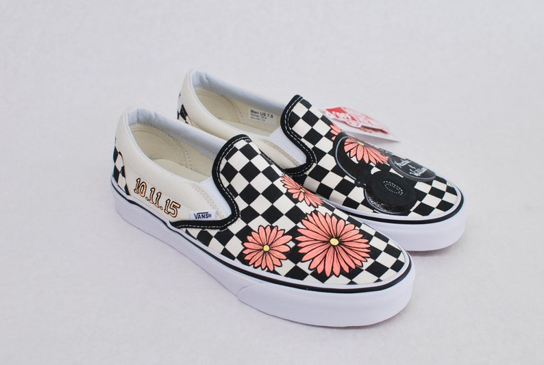 a03922c9fc Custom Hand Painted Checkerboard Vans Slip-ons Feature Coral