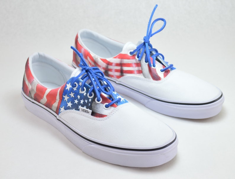 7315774bed279 All American Hand Painted Vans Era USA Flag Theme
