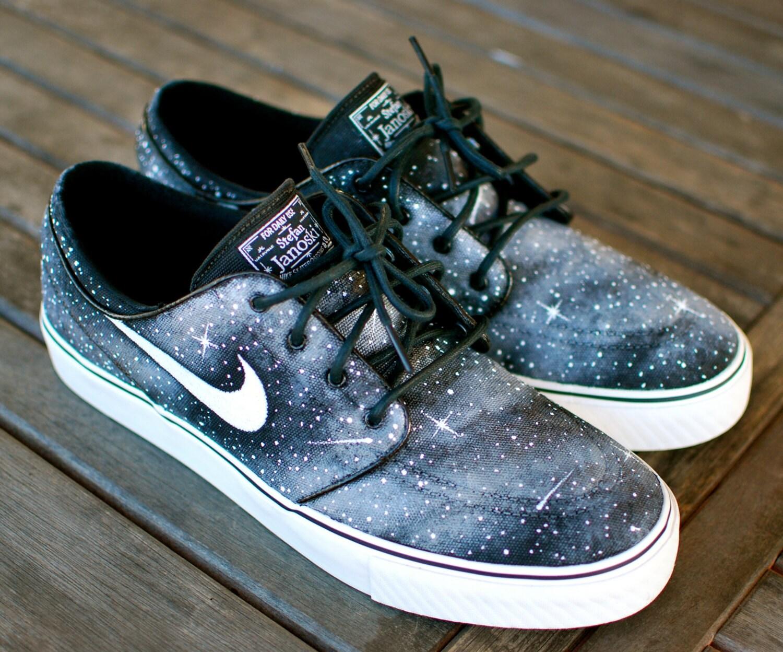 Custom Hand Painted Twilight Zone Black and White Galaxy Nike  feabcbd0191f