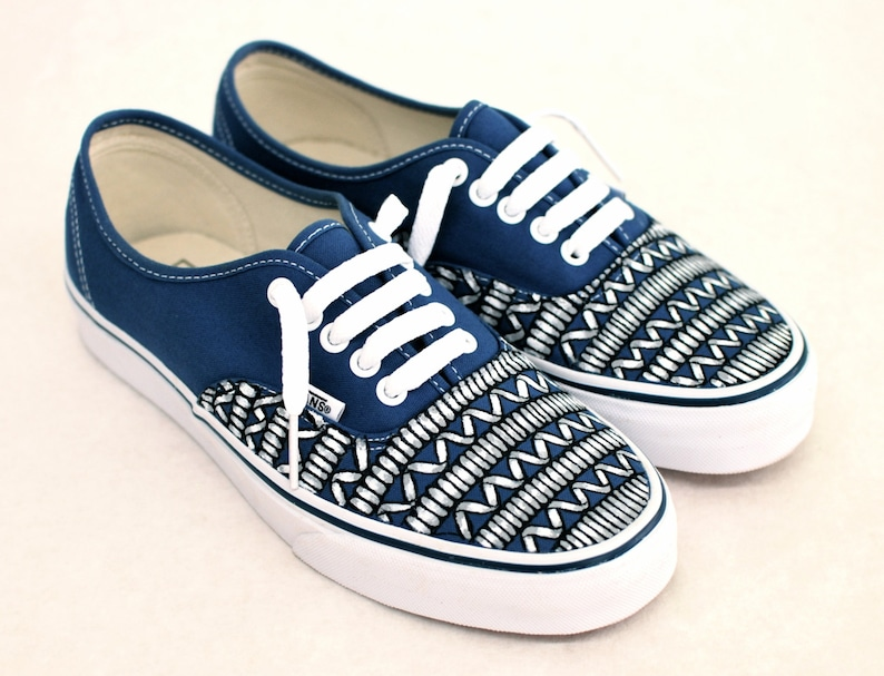 b386458652 Tribal looking Phone Cord Vans Hand Painted Navy Authentic