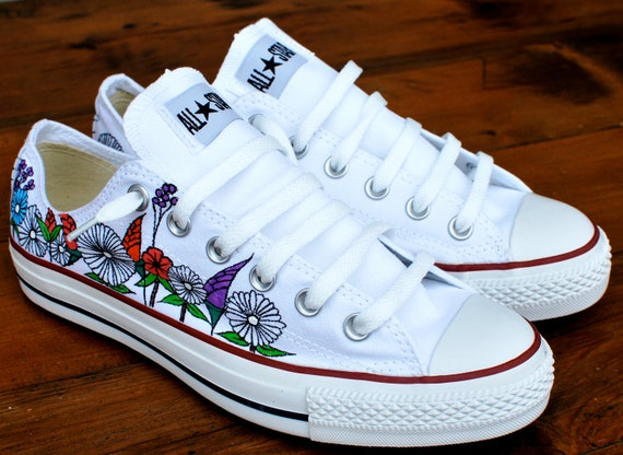 Custom hand painted flowers on low top Converse Chuck Taylor  073726238