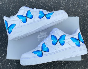 Butterflies on BOTH Sides Of Shoes - Custom Nike Air Force 1 Blue ButterFLY
