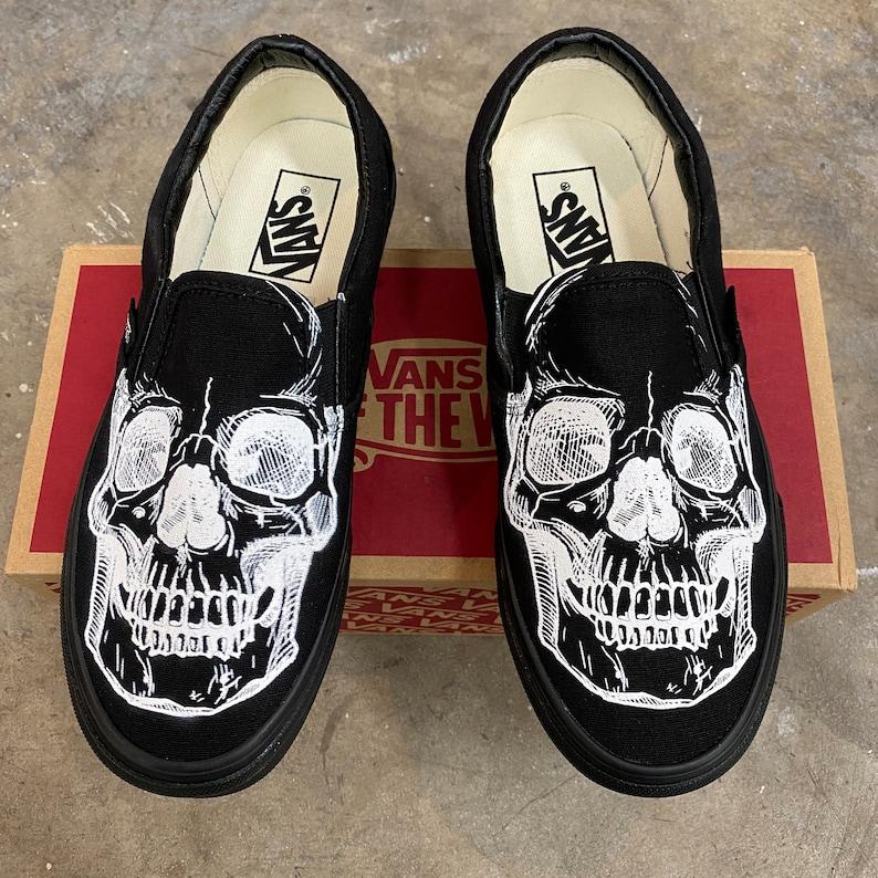 Custom Slip On Vans Skeleton Skull Head image 0