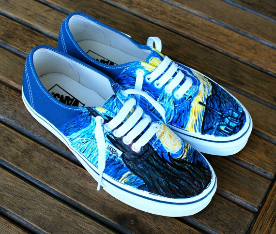 Hand Painted Starry Night Navy Vans Authentic - Custom Vincent Van Gogh  Starry Night Vans Sneakers d0820d06c
