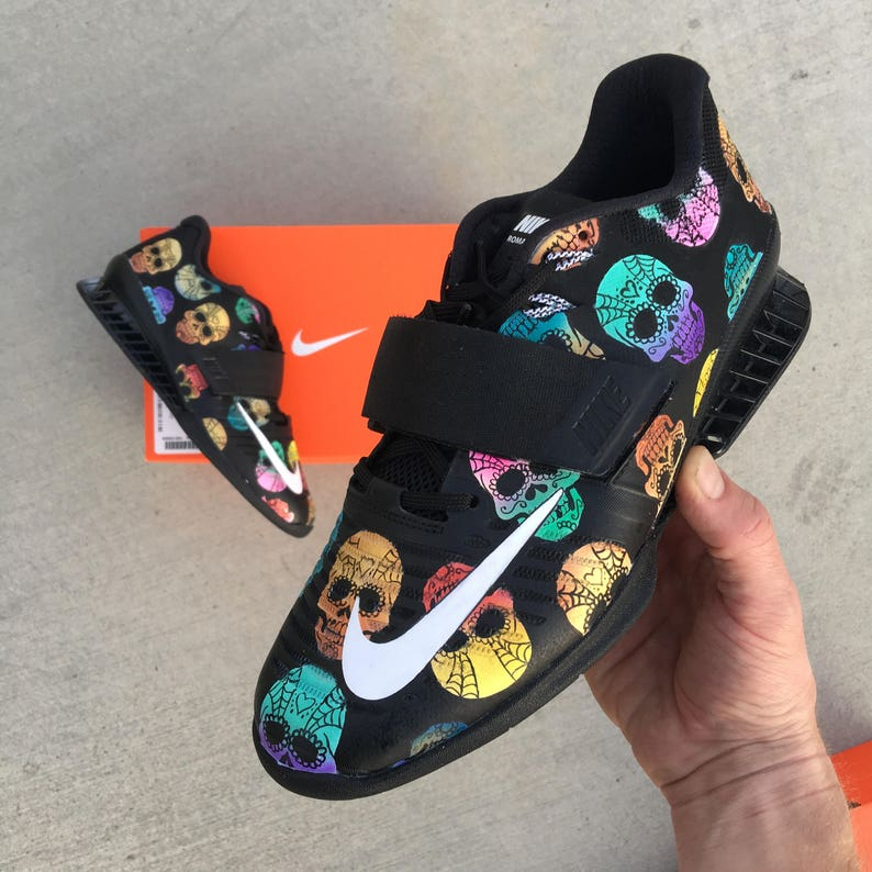 0e9a19f5267 Custom Hand Painted Sugar Skull Themed Nike Romaleos 3