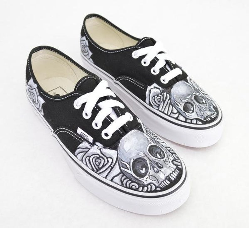 2767819a76 Black   White Skull and Rose on Black Vans Authentic Custom