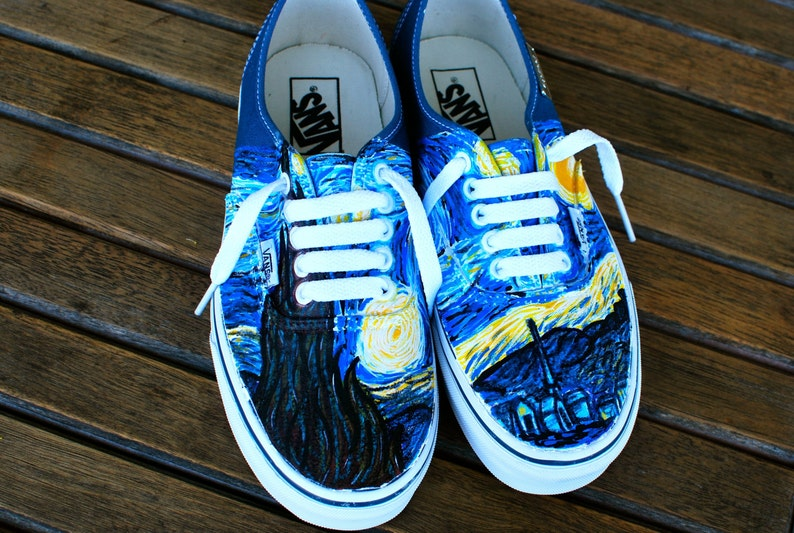 21a461d506387a Hand Painted Starry Night Navy Vans Authentic Custom Vincent