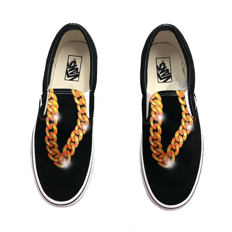 d7692e0a6e5 Custom Hand Painted Gold Chain Vans Slip On Shoes Gold