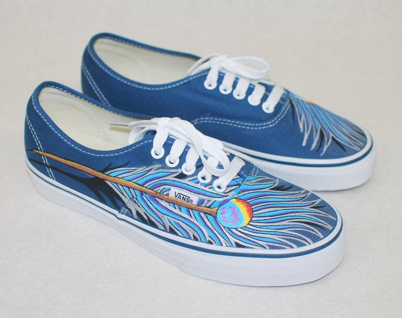 60873ea909 Blue and Purple peacock feather Vans