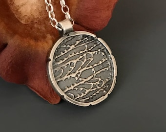 Sterling silver shaakh pendant, silver Necklace, silver pendant, silver jewelry, gift, Nature inspired jewelry