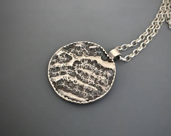 Sterling silver Coral Amal pendant Necklace, silver pendant, oxidized jewelry, gift for her, Nature inspired jewelry