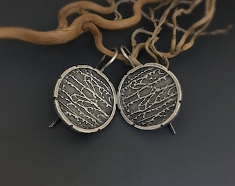 Sterling Silver shaakh branches Dangle Earrings, round earrings, ethnic tribal earrings, nature inspired jewelry, gift