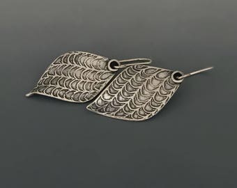 Tree of Heaven seedpod Sterling Silver Earrings, Leaf, Nature inspired jewelry, dangle earrings, valentines gift for her