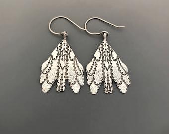 Sterling Silver Earrings, Dangle earrings,  oxidized silver, Jewelry, Nature inspired jewelry, Petal earrings, gift
