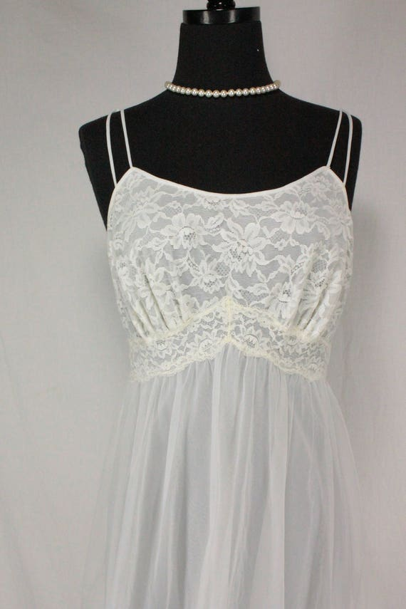 Vintage Vanity Fair Nightgown Nightie White Chiffo