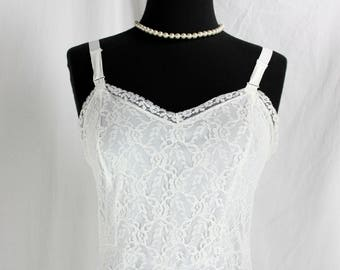 Vintage White Lace Full Slip Lots of Lace 34