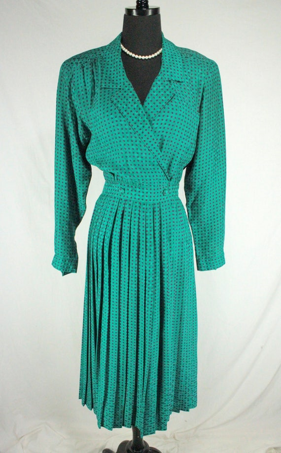 Vintage Maggy London Green and Purple Silk 80's