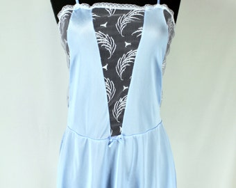 Vintage Fredericks of Hollywood Blue Lace Baby Doll Camisole Large