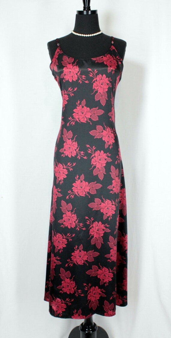 Vintage Nightgown Slip Dress Nylon Long Black and… - image 2