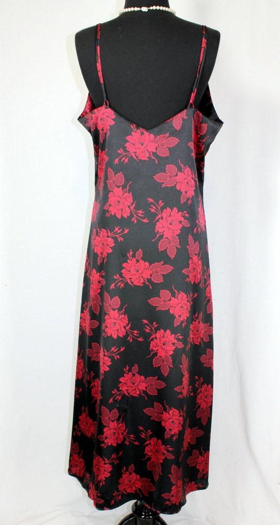 Vintage Nightgown Slip Dress Nylon Long Black and… - image 4