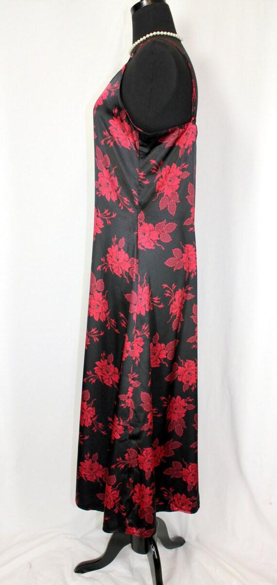 Vintage Nightgown Slip Dress Nylon Long Black and… - image 3