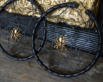 Leather Spider Web Hoop Earrings Silver or Gold