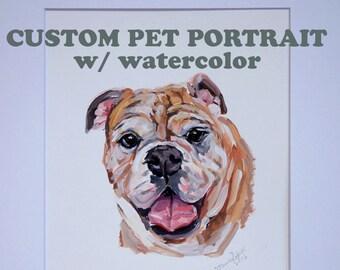 Custom Gouache  watercolor on paper pet portrait Illustration