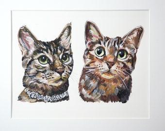 Custom pet portrait Illustration gouache  watercolor on paper TWO pets